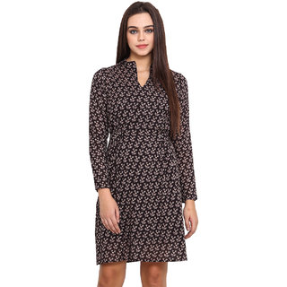 La Stella Black Voile Printed Chinese Collar Dress