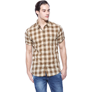 Mufti Mens Brown Slim Fit Casual Shirts