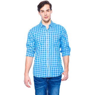 Mufti Mens Turqouise Slim Fit Casual Shirts