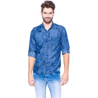 Mufti Mens Blue Slim Fit Casual Shirts
