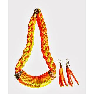 Kiya Neon Orange Silk  Neckwear With Matching Danglers
