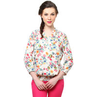 Moderno White,Multi Rayon Floral Henley Neck Top