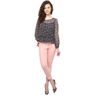 Moderno Black,Pink Georgette Printed Round Neck Top