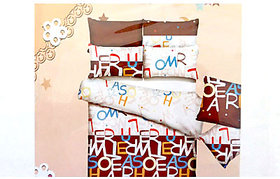 Tulaasi White And Brown Abstract Printed Cotton Bed Sheet With Pilow Covers