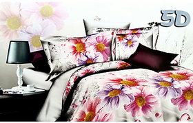 Tulaasi Multicolor Floral Printed Cotton Bed Sheet With Pair of Pilow Cover