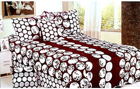 Tulaasi White And Maroon Polka Printed Cotton Bed Sheet With Pilow Covers