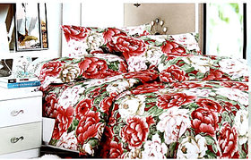 Tulaasi Red And White Floral Printed Cotton Bed Sheet With Pilow Covers