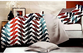 Tulaasi Multicolour Abstract Printed Cotton Bed Sheet With Pilow Covers