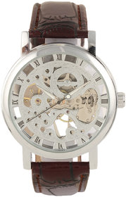 Winner Skeleton Silver Dial  Mechanical Brown Belt Watch for Men! (Without Battery for Life!)