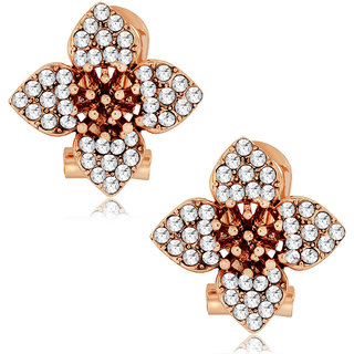 Spargz Floral Design Gold Earring Stud with AD Stone AIER 516