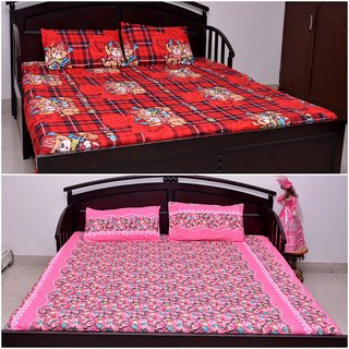 VIPL Attractive Printed Polyester Bed Sheet Set of 2