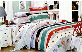 Tulaasi Multicolor Plain Printed Cotton Bed Sheet With Pilow Covers
