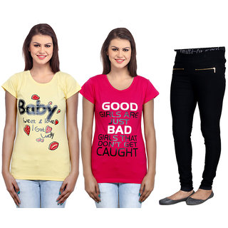 Indiweaves Women 2 Cotton T-Shirt With 1 Cotton Jegging Set Of -3  711013100700-Iw