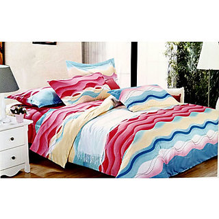 Tulaasi Abstract Printed Multicolor Cotton Bed Sheet With Pilow Covers