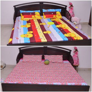 VIPL Cartoon with Floral Print Designer Bed Sheet Set of 2