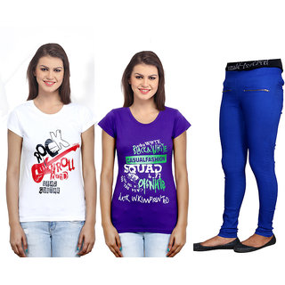 Indiweaves Women 2 Cotton T-Shirt With 1 Cotton Jegging Set Of -3  711023100905-Iw