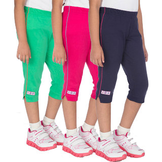 OCEAN RACE Girls Stylish Cotton Capris (3/4 Th Pant)-Pack of 3-Hot pink / Green / Navy blue