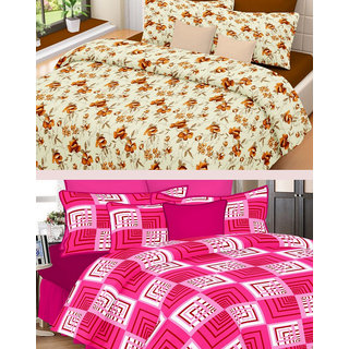 Valtellina Combo of 2 Cotton Double Bed Sheet with 4 Pillow Covers - TC-250