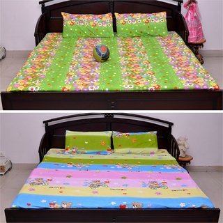 VIPL Apple Print with Floral Design Combo Set of 2