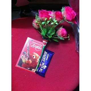 Bunch Of Five Pink Rose Artificial Flowers With Chocolate And Greeting Card