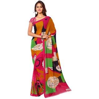 Aagaman Fashion Beautiful Multi Colored Printed Faux Georgette Saree