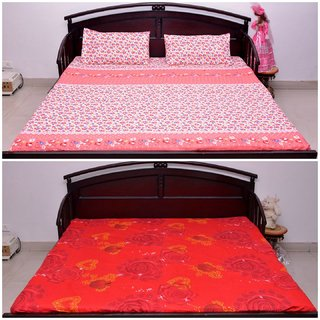 VIPL Golden Heart Print With Flower Design Besdsheet For Special Occasions Set Of 2