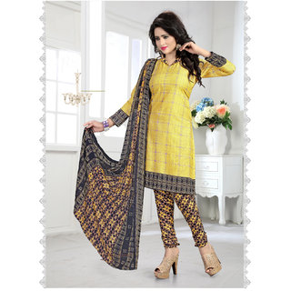 Fabliva Yellow  Multy Printed Crepe Dress Material