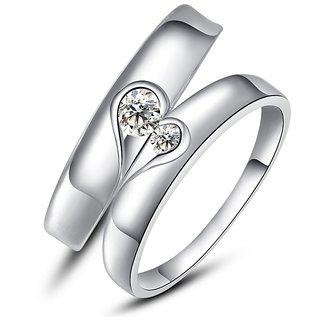 RM Jewellers CZ 92.5 Sterling Silver American Diamond Life Style Heart Couple Band For Men and Women