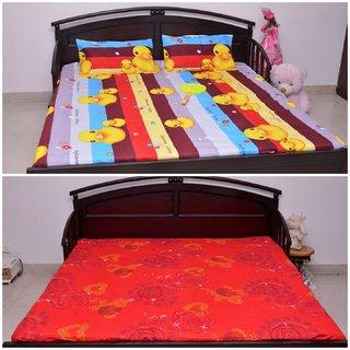 VIPL Pink Rose Print Bedsheet with Cartoon Print Set Of 2