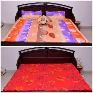 VIPL Heart Print With Multi Colour Designer bedsheet Set Of 2