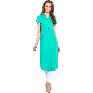 Cool Pink Green Plain Polyester Stitched Kurti