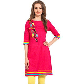 Cool Pink Pink Embroidered Cotton Stitched Kurti