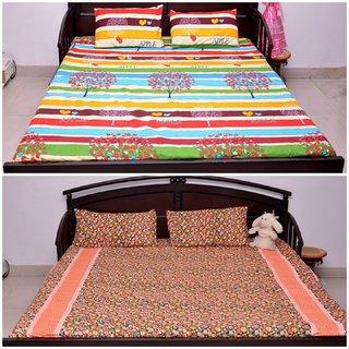 VIPL Multicolor Stripes  Floral Printed Bedsheet Set of 2