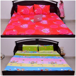VIPL Pink Rose Print with MUlticolor Cartoon Print Bedsheet Set of 2 For Child