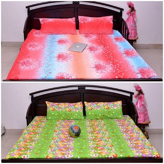 VIPL MUlti Shaded Print with Green Floral Print Bedsheet Set of 2