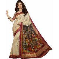 Kajal Sarees Multicolor Art Silk Floral Print Saree With Blouse