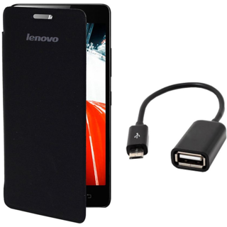 ClickAway Black Flip Cover For LENOVO A6000 PLUS  WITH Micro OTG Cable
