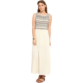 Rena Love White Embroidered Gown Dress For Women
