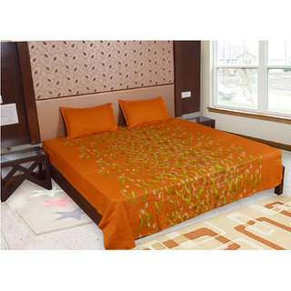 Factorywala Premium Cotton Floral Print Orange Colour Double Bed Sheet with 2 Pillow Covers