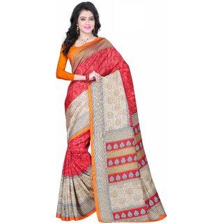 Fabplus Multicolor Silk Block Print Saree With Blouse