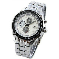Curren Brand 755-White Auto Calender Stainless Steel Casual Watch for men