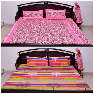 VIPL Superior Quality Polyester Bedsheet Combo Set of 2