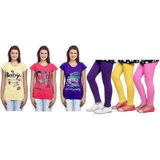 Indiweaves Cotton Girls T-Shirt  Girls Legging Set Of - 6  310000108714020708-Iw