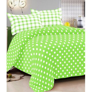 Green Cotton Double Bedsheet With 2 Pillow Cover