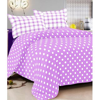 Purple Cotton Double Bedsheet With 2 Pillow Cover