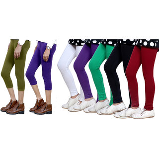 Indiweaves Girls Cotton Legging With Cotton Capri Set Of -7  71808100302060500-Iw