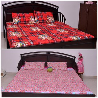 VIPL Cartoon Print with Floral Design Bed Sheet Set of 2 With 4 Pillow Covers