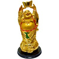 Starstell Fengshui Golden Laughing Buddha With Money Ingot In Hands Up Posture Showpiece - 18 Cm