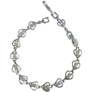 Glitters Tiny Heart Design Silver Rhodium Bracelet for Women