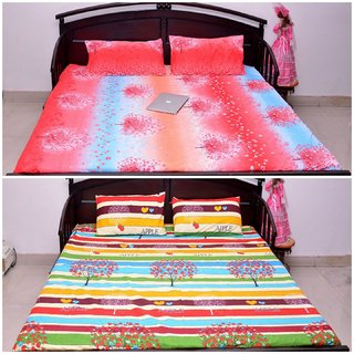 VIPL Multi shaded with Multi color Stripes Bedsheet Combo
